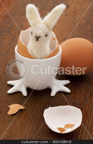 Easter bunny and eggs stock photo, Easter decoration concept - woolen bunny hatching from a chicken egg by Marek Uliasz