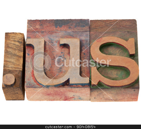 internet domain for United States stock photo, dot us - internet domain for United States in vintage wooden letterpress printing blocks, stained by color inks, isolated on white blocks, stained by color inks, isolated on white by Marek Uliasz