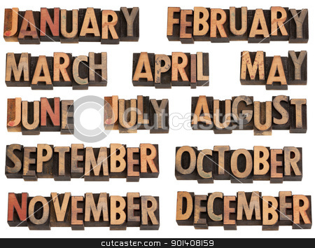 months in letterpress type stock photo, 12 months of the year from January to December in vintage wood letterpress printing blocks, isolated on white by Marek Uliasz