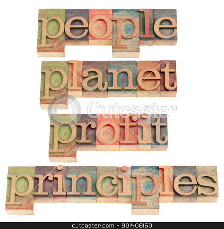 people, planet, profit, principles stock photo, sustainable business concept - people, planet, profit, principles words in vintage wood letterpress printing blocks, isolated on white by Marek Uliasz