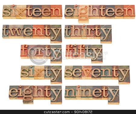 birthday or anniversary numbers stock photo, birthday or anniversary numbers from sixteen to ninety - isolated words in vintage wood letterpress printing blocks by Marek Uliasz