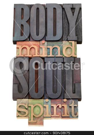body, mind, soul, spirit  in letterpress type stock photo, body, mind, soul, spirit - isolated word abstract in vintage wood letterpress printing blocks by Marek Uliasz