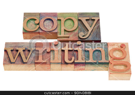 copywriting word in letterpress type stock photo, copywriting word in vintage wood letterpress printing blocks, isolated on white by Marek Uliasz