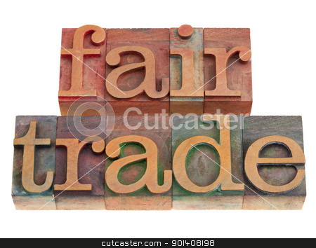fair trade stock photo, ethical business concept - fair trade words in vintage wood letterpress printing blocks, isolated on white by Marek Uliasz