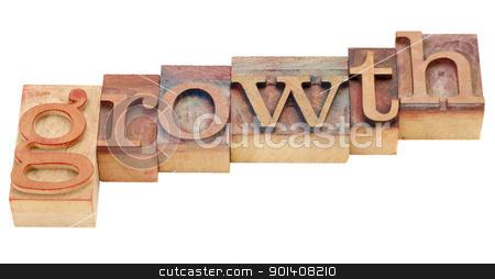 growth in letterpress type stock photo, growth isolated word in vintage wood letterpress printing blocks by Marek Uliasz