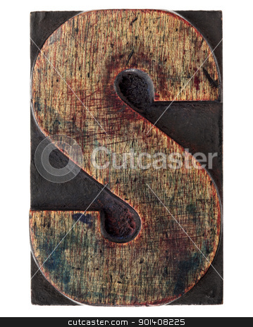letter S in vintage wood type stock photo, letter S - vintage wood letterpress printing block, scratched, stained by ink, isolated on white by Marek Uliasz