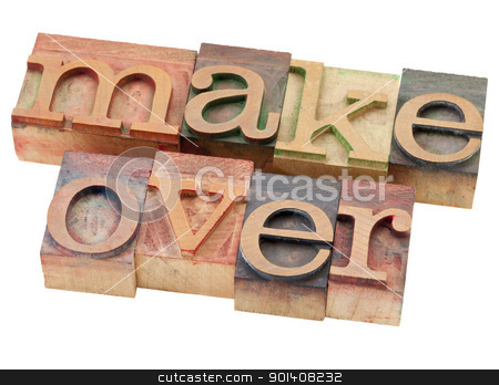 makeover word in letterpress type stock photo, makeover - isolated word in vintage wood letterpress printing blocks by Marek Uliasz