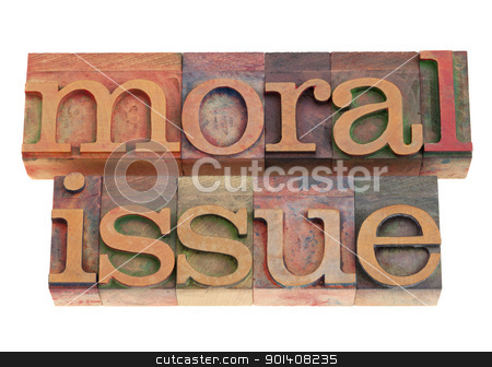 moral issue in letterpress type stock photo, moral issue phrase in vintage wood letterpress printing blocks, isolated on white by Marek Uliasz