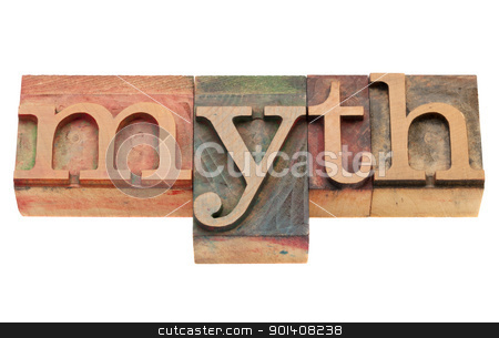 myth in letterpress type stock photo, vintage wood printing blocks spelling word myth, isolated on white by Marek Uliasz