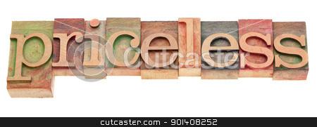 pricesless word in letterpress type stock photo, priceless word in vintage wood letterpress type by Marek Uliasz