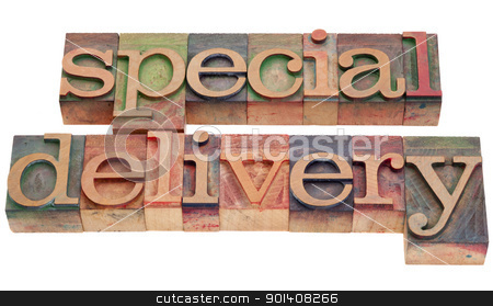 special delivery in letterpress type stock photo, special delivery phrase in vintage wood letterpress printing blocks isolated on white by Marek Uliasz