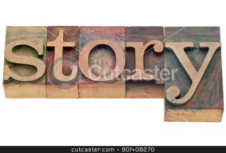 story word in letterpress type stock photo, story - isolated word in vintage wood letterpress printing blocks by Marek Uliasz