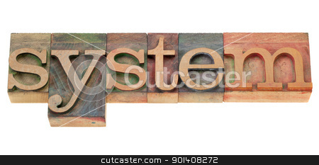 system in wood letterpress type stock photo, system - isolated word in vintage wood letterpress printing blocks by Marek Uliasz