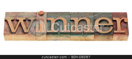 winner word in letterpress type stock photo, winner - isolated word in vintage wood letterpress printing blocks by Marek Uliasz