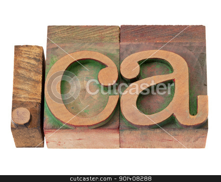 Canada internet domain stock photo, dot ca - internet domain for Canada in vintage wooden letterpress printing blocks, stained by color inks, isolated on white by Marek Uliasz