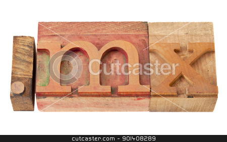 Mexico internet domain stock photo, dot mx  - internet domain for Mexico in vintage wooden letterpress printing blocks, stained by color inks, isolated on white by Marek Uliasz