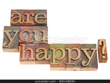 Are you happy? stock photo, Are you happy question in vintage grunge wood letterpress printing blocks, isolated on white by Marek Uliasz