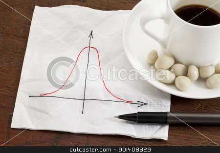 Gaussian (bell) curve stock photo, Gaussian (bell) curve or normal distribution graph on white napkin with coffee cup and snack on wood table by Marek Uliasz