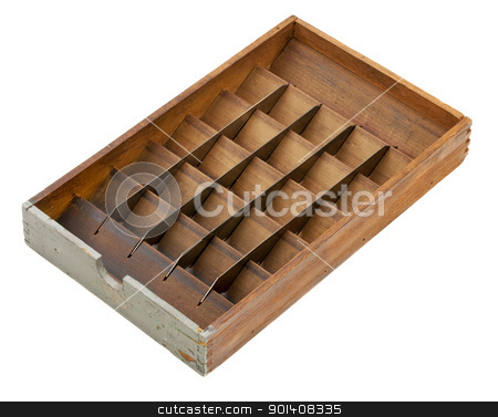 letterpress matrix sort box stock photo, vintage letterpress matrix sort box, wood with metal dividers and bins, isolated on white - sorting or classifying concept by Marek Uliasz