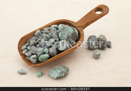 raw emerald gemstones stock photo, rustic scoop of raw emerald gemstones (mineral beryl)  with inclusions mined in Brazil by Marek Uliasz