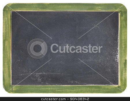 old slate blackboard stock photo, old blank slate blackboard with white chalk dust and texture, green wood frame by Marek Uliasz