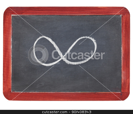 infinity symbol on blackboard stock photo, infinity symbol - white chalk  on small slate blackboard, isolated on white by Marek Uliasz