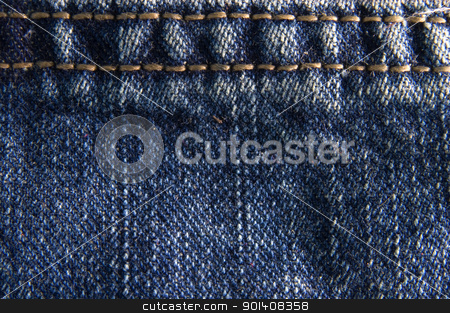 Blue jeans fabric texture stock photo, Blue denim jeans texture macro close up. Useful as background for design works. by Cienpies Design