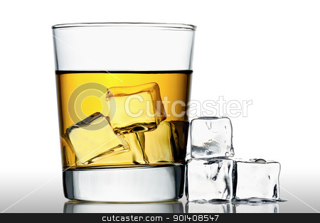 Whisky on the rocks stock photo, glass of whisky on the rocks with ice cubes next to, isolated on white by Gert Lavsen