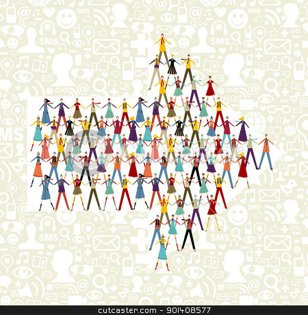 Social media people in arrow icon shape stock vector clipart, Taked by hands people group in an arrow shape symbol. Social icons set pattern background. by Cienpies Design