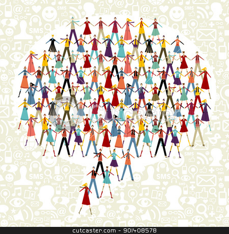 Social media people in chat bubble symbol stock vector clipart, Taked by hands people group in speech bubble shape. Social icons set pattern background. by Cienpies Design
