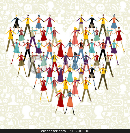Social media people in heart shape stock vector clipart, Taked by hands winter people group in heart shape symbol. Social icons set pattern background. by Cienpies Design
