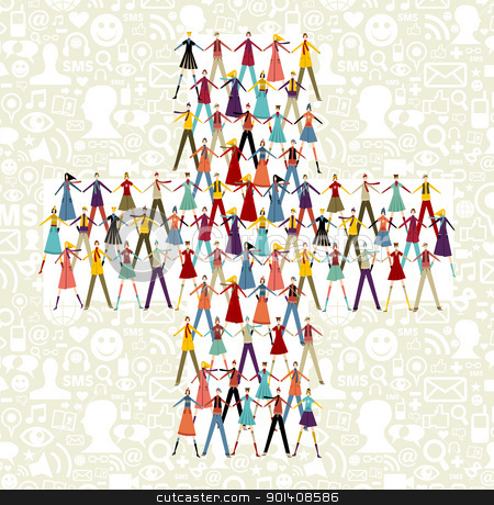 Social media people in plus symbol shape stock vector clipart, Taked by hands people group in plus symbol shape. Social icons set pattern background. by Cienpies Design