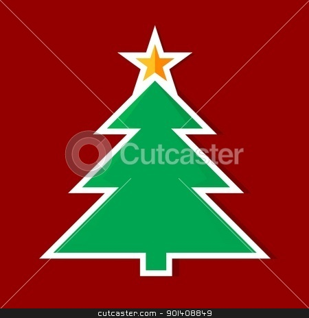 Origami Christmas tree stock photo, Origami Christmas tree. Illustration on red background by dvarg