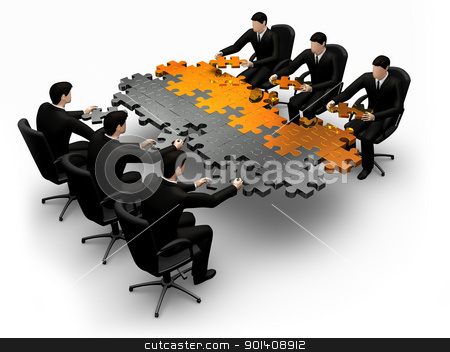 3d businessmans building a puzzle stock photo, 3d business team work building a puzzle isolated over a white background by Anadmist