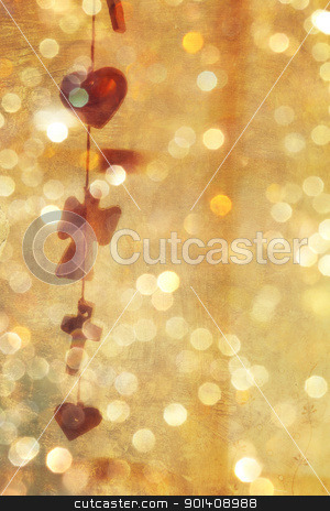 empty background with grunge texture stock photo, empty background with grunge texture and vintage garland of hearts and crosses with sparkling bokeh lights.  by lubavnel