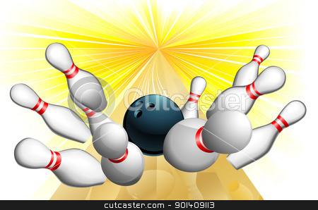 Bowling ball strike stock vector clipart, An illustration of a bowling ball scoring a strike  by Christos Georghiou