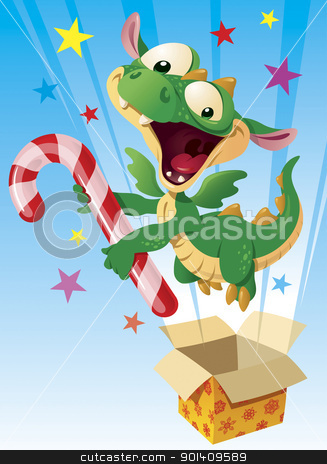 Dragon with the candy cane stock vector clipart, Little fairy Dragon jumping from the box, vector illustration by Vlad3563