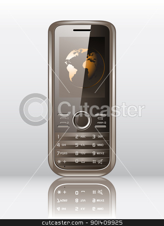 Mobile phone  stock vector clipart, Vector illustration of a modern mobile phone isolated on white by Vladimir Gladcov