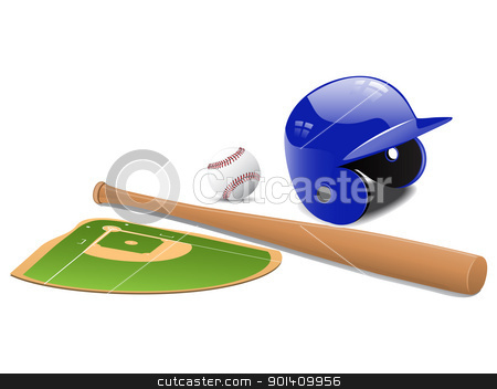 Baseball field, ball and accessories stock vector clipart, Baseball elements - bat, ball sport-field and baseball helmet. Vector illustration by Vladimir Gladcov