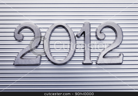 Year 2012 stock photo, Number 2012 in small metallic letters. by Stocksnapper