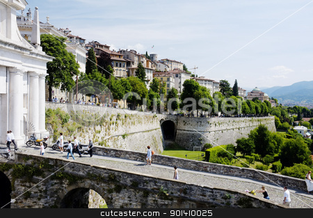 Bergamo stock photo, ERGAMO, LOMBARDY, ITALY - MAY 29: Scenery and the town wall of the Bergamo Citta Alta, May 29, 2011 in Bergamo, Lombardy, Italy by Stocksnapper