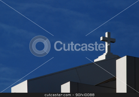 Modern church cross stock photo, Cross of modern catholic church on sky background by Aleksandar Varbenov