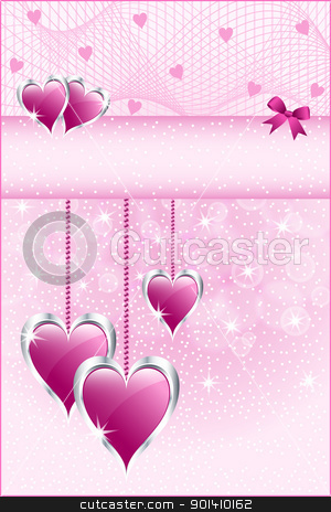 Pink love hearts and bow stock vector clipart, Pink love hearts symbolizing valentines day, mothers day or wedding anniversary. Copy space for text. by toots77