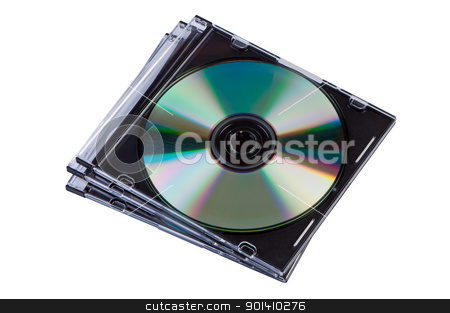 Stack of CD discs in a box isolated. stock photo, Stack of CD discs in a box isolated. by Borys Shevchuk