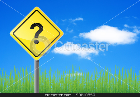 Road sign question. stock photo, Road sign question. Concept of solving the problem. by Borys Shevchuk