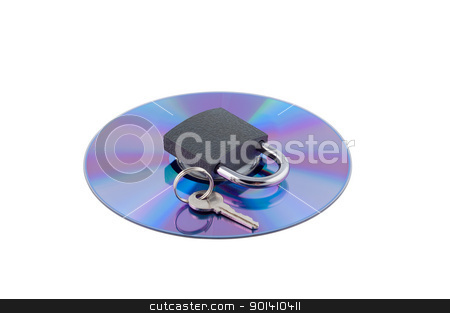 Padlock and key on cd isolated. stock photo, Padlock and key on cd isolated. Concept computer security. by Borys Shevchuk