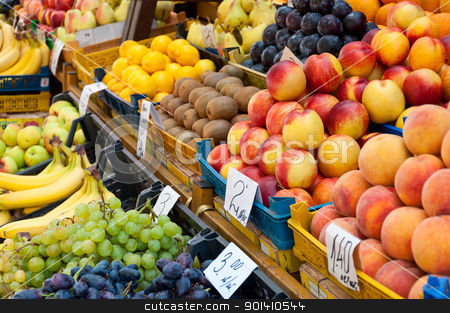 Fruit at market with price tags for sale. stock photo, Fruit at market with price tags for sale. by Borys Shevchuk