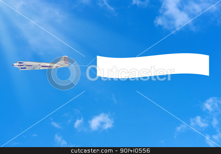 Flying airplane and banner on sky background. stock photo, Flying airplane and banner on sky background. by Borys Shevchuk