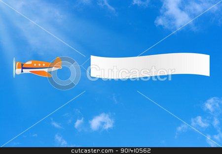 Flying aircraft carries banner in sky. stock photo, Flying aircraft carries banner in sky. by Borys Shevchuk
