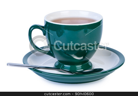 Cup tea on white background shadow below. stock photo, Cup tea on white background shadow below. by Borys Shevchuk